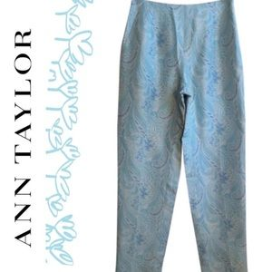 Ann Taylor Silk blue and white print Capri pants 2